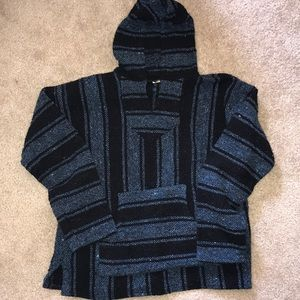 """Tops - Blue and black """"drug rug"""" hoodie"""